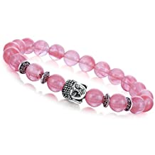 Joya Gift Natural Gemstone 8MM Round Beads Buddha Bead Gemstone Chakra Bracelet for Women Charms Men Jewelry