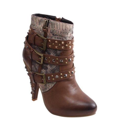 Uitgevoerd Met Studded Strap Wrapped Fashion Enkellaarsjes Cr0113 Bruin, Camel Of Zwartbruin