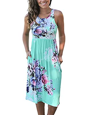 OURS Womens Summer Sleeveless Floral Print Racerback Midi Dresses with Pocket