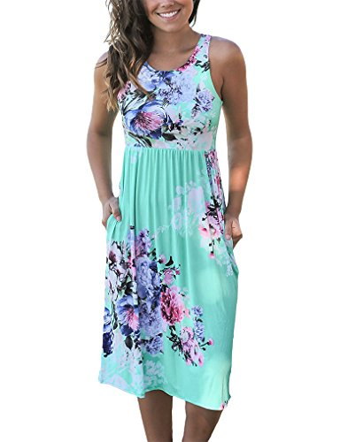 OURS Womens Plus Size Maternity Floral Printed Midi Sun Dresses Green ()