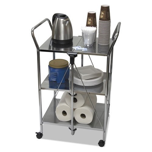 Vertiflex VF51008 Click-N-Fold Dual Handle Service Cart, 18 5/16w x 23 5/8d x 36 5/8h, Chrome