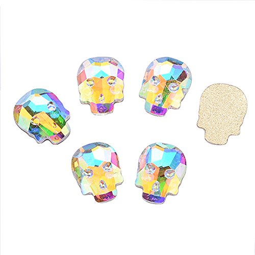 QIMYAR 3D Skull Head Nail Art DIY Cool Glitter Flatback Rhinestones for Halloween Decoration 20 Pcs -