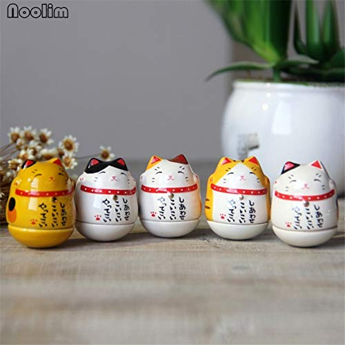 ZAMTAC 5pcs/Set Lucky Cat Tumbler Figurines Car Dolls Decoration Home Decor Toys Car Accessories Ornament Birthday Gifts