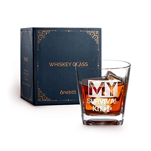 (Whiskey Glass, My Survival Kit, Old Fashioned Glass, Hand etched rocks Glass, Gift for drinking bourbon, cocktails, scotch, whiskey, vodka, rum, gin, cognac)