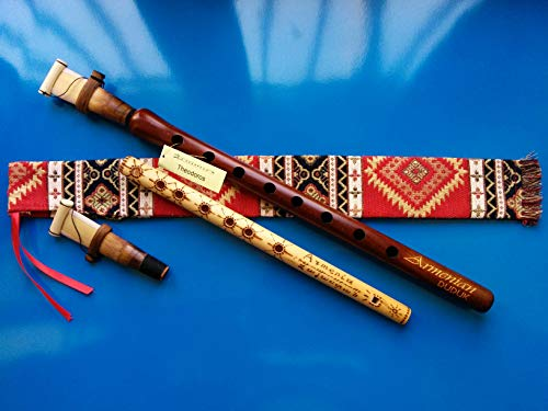 Reed Flutes - ARMENIAN Engraved DUDUK PRO from Apricot Wood, 2 Reeds, National Case, Playing Instruction and Free Gift Flute