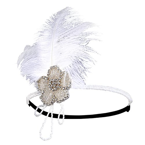 [Zivyes 20's Gatsby Hollywood Themed Party Charleston Flapper Feather Headband (B-Pearl Tassel)] (Hollywood Themed Costumes Women)
