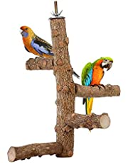 S_HomeStore Natural Wood Bird Perch Set, Parrot Stand Wood Perches Paw Grinding Stick Chew Toy for Small Medium Parrots