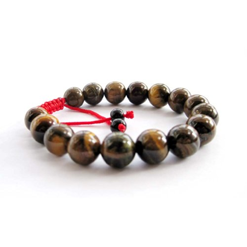 (Tiger Eye Gem Beads Tibetan Buddhist Prayer Mala Bracelet)