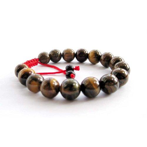 Tiger Eye Gem Beads Tibetan Buddhist Prayer Mala Bracelet with Free Mala Bag
