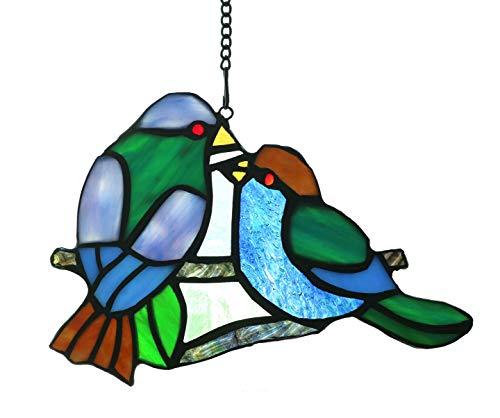 - Alivagar Stained Glass Window Hangings Sun Catcher Honey Love Birds, 8