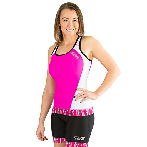 Triathlon SLS3 Women FX Tri Top 1 Pocket Jersey - Singlet -Tank (Knockout Pink, L) - Aero Tri Top
