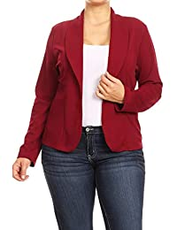 0b07dacc0bd1a Women s Plus Size Casual Solid Basic Long Sleeve Blazer Cardigan Jacket Made  in USA
