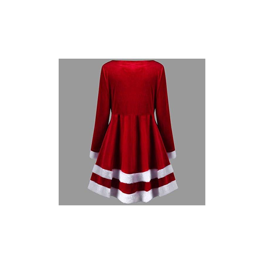 STORTO Womens Santa Claus Costume,Christmas Velvet Long Sleeve O Neck Dress with Belt