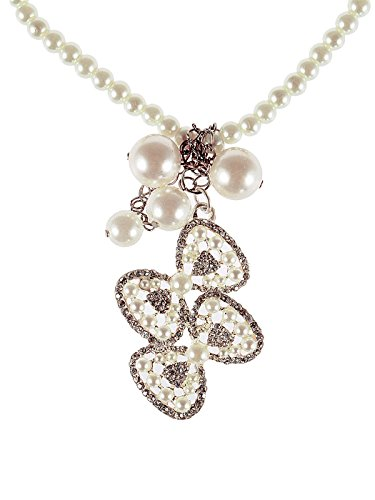 Double Bow Necklace (Alilang Faux Pearl Bead Strand Double Couple Ribbon Bow Drop Rhinestone Pendant Necklace)