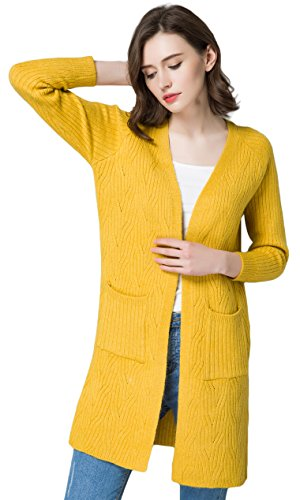KUBITU Womens Classic Pocket Open Front Knit Comfort Long Cardigan Sweater Coat Large Yellow
