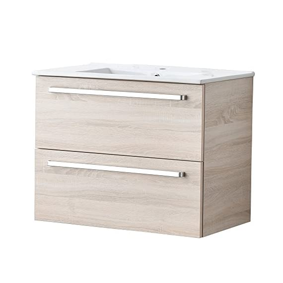 RESSORTIR Modern bathroom vanity 30 inch Danube oak - Size: 23. 2 in. W x 17. 7 in. D x 32. 5 Faucet and pop up drain not include Constructed in Laminate composite wood with PVC doors - bathroom-vanities, bathroom-fixtures-hardware, bathroom - 41NgRhgBZwL. SS570  -