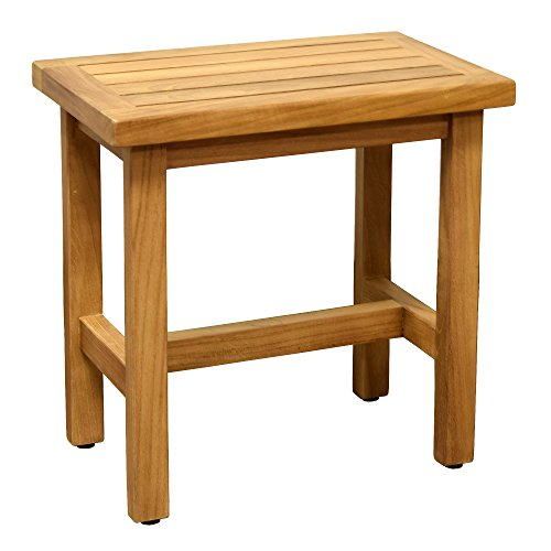 Asta Coast Solid Teak Indoor Outdoor Shower/Bath/Spa Stool Bench, Side Table, Fully Assembled ()