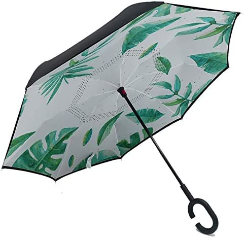 Inverted Umbrella Creative C Hook Handle Reverse Folding Quality Brand Bright Pattern Double Layer Windproof Rainy Sunny Umbrella Car Men Women