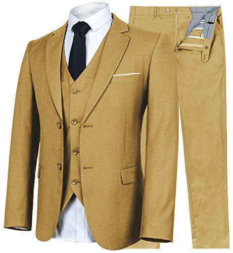 YIMANIE Men's Suit Slim Fit 2 Button 3 Piece Suits Jacket Vest & Trousers Khaki