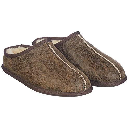 KirklandSignature Men's Shearling Clog Slipper Chocolate Bomber Brown -