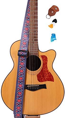 Guitar Strap - Adjustable Buckle - 3 Pick - Genuine Leather Ends, 2inch Wide, Woven Jacquard Pattern Design (Vintage Flower)