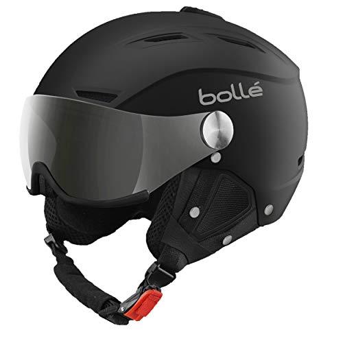 Bolle Backline Visor with 1 Silver Gun + 1 Lemon Visor Ski Helmet, Soft Black/Silver, 56-58cm (Renewed)
