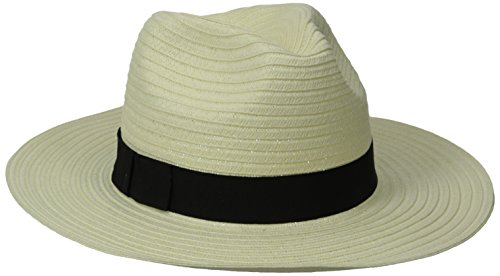 San Diego Hat Company Women's Paperbraid Fedora with Bow Band, Ivory, One Size (San Diego Fedora)