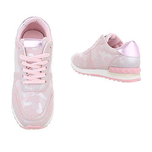 Ital-Design Sneakers Low Damenschuhe Schnürsenkel Freizeitschuhe Pink Multi G-99