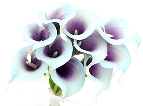 FiveSeasonStuff 10 Stems of Real Touch Calla Lillies (Latex) Artificial Flower Bouquet, Perfect for Wedding, Bridal, Party, Home Office Décor DIY (Blue & Purple)