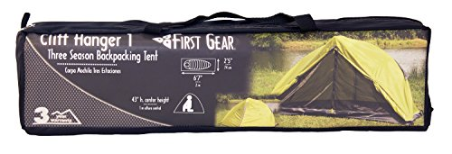 """First Gear - Cliff Hanger - Solo Tent 6 Sleeps 1 - 6'7"""" x 2'5"""" x3'7"""" Taped fly and floor seams Full coverage fly completely surrounds the tent"""