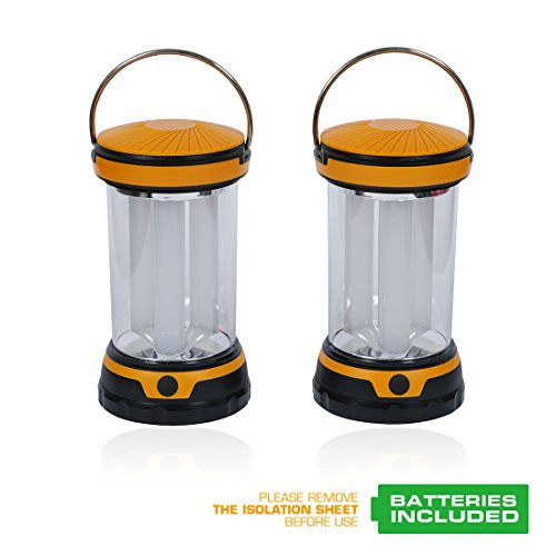 EverBrite 2-Pack Portable Outdoor LED Camping Lantern Flashlights with 6 AA Batteries