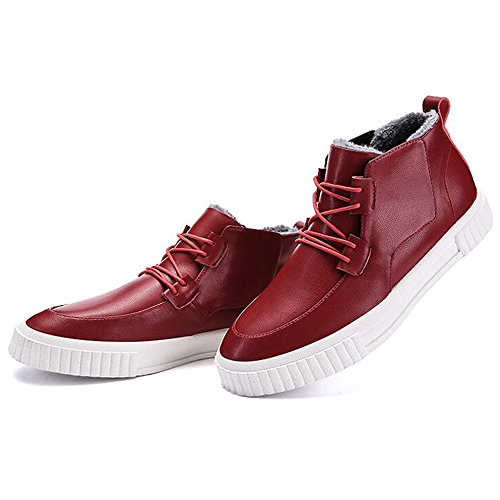 Men's Shoes Feifei Non-Slip High Help Keep Warm Casual Shoes 3 Colors (Color : Red, Size : EU39/UK6.5/CN40)