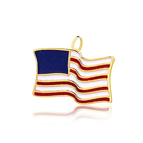 Carol Jewelry 14k Solid Yellow Gold Enamel United States USA Flag Pendant for Necklace for Teens, Women, Men, Seniors