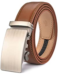 Men's Leather Ratchet Dress Belt- Length is Adjustable - Delicate Gift Box