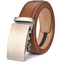 plyesxale Men's Leather Ratchet Dress Belt- Length is Adjustable - Delicate Gift Box