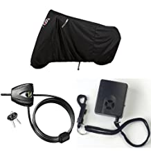 Dowco 50124-0 Guardian WeatherAll Plus Motorcycle Cover for Sport Bikes + Master Lock 8417D Python Adjustable Locking Cable, 6-Foot + Dowco 26038-0 Guardian Black Cover Alarm Bundle