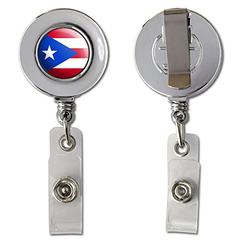 Puerto Rico Puerto Rican Flag Retractable Reel Chrome Badge ID Card Holder Clip