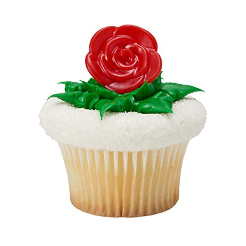 Pack of 24 Red Rose Cupcake Topper Rings Belle Beauty and the Beast