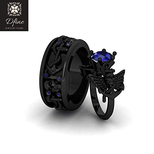 Nautical Rope Anchor Skull Gothic Wedding Ring Band Set Matching Couples Sapphire Blue Skull and Wings Ring