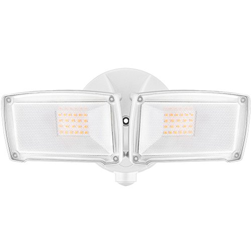 LEPOWER 2500LM LED Security Light, 22W Outdoor Flood Light, ETL- Certified, 3000K, IP65 Waterproof, 2 Adjustable Heads for Entryways, Stairs, Yard and Garage(Warm Light)