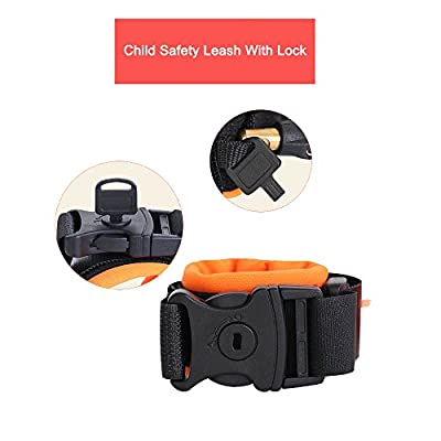Child Safety Leash, Orange & Blue,Child Anti Lost Strap Skin Care Wrist Link Belt Sturdy Flexible Safety Harness for Travel Outdoor Shopping, 2-Pack[4.92ft &8.2ft with Lock]