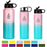 Hiwill Stainless Steel Insulated Water Bottle 2 Lids, Cold 24 Hours Hot 12 Hours, Double Wall Vacuum Thermos Flask, Travel Sports Leak Proof Metal Bottle with Straw, BPA Free (Sweet Taffy, 37 OZ)
