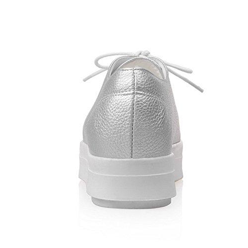 Amoonyfashion Donna Tacco Chiuso Lace Up Pu Tacco Solido Tacchi Pompe-scarpe Argento