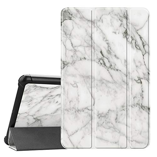 Fintie Slim Case for Samsung Galaxy Tab A 8.0 2018, Ultra Thin Lightweight Tri-Fold Stand Cover for Samsung Tab A 8.0 Inch 2018 Tablet Model SM-T387 Verizon/Sprint/T-Mobile/AT&T, Marble White