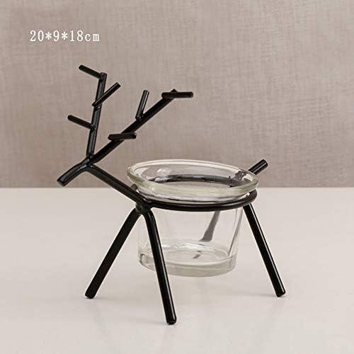 北欧の透明なガラスゴールドアイアンアート燭台家庭ロマンチッククリエイティブダイニングテーブルキャンドルカップ装飾 (Size :