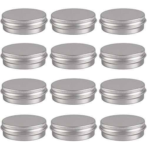 Goiio 1oz Aluminum Tin Jars,Screw Top Round Jars Metal Tin Cans Aluminum Tin Containers Bulk Food Tins Cosmetic Jar Container Candle Travel Tins(Silver, 12 -
