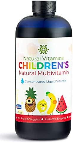 Natural Vitamins Childrens Complete Liquid Multivitamin ★ 20 Fruits & Veggies ★ Immune & Digestive Support ★ All Essential Vitamins & Minerals ★ Toddlers & Kids Ages 1-12 ★ 16 floz ★ 32 Day Supply