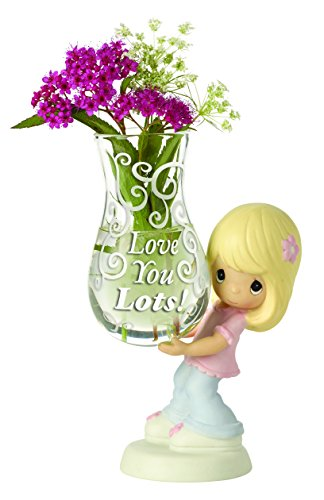 Precious Moments, Love You Lots! Glass Bud Vase, Bisque Porcelain Figurine, Girl 154005