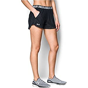 Under Armour Women's Play Up short 2.0 - Mesh, Black/White, Small