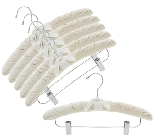 Only Hangers Natural Canvas Padded Hangers w/Chrome Hook & Clips ()